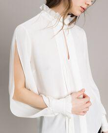 Rüschen-Bluse aus Seidenmischung Weiß Schnee Frau 191TP2135-04