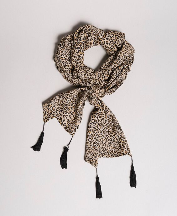 Animal print scarf with tassels