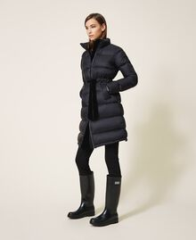 Long puffer jacket with velvet drawstring Black Woman 202MP2541-01
