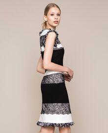 Robe fourreau bicolore avec dentelle Blanc / Noir Femme 201TQ2070-04