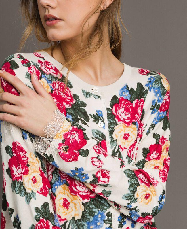 Pullover-Cardigan mit Blumenmuster Motiv Tuch Weiße Blumen Frau 191MP3131-04