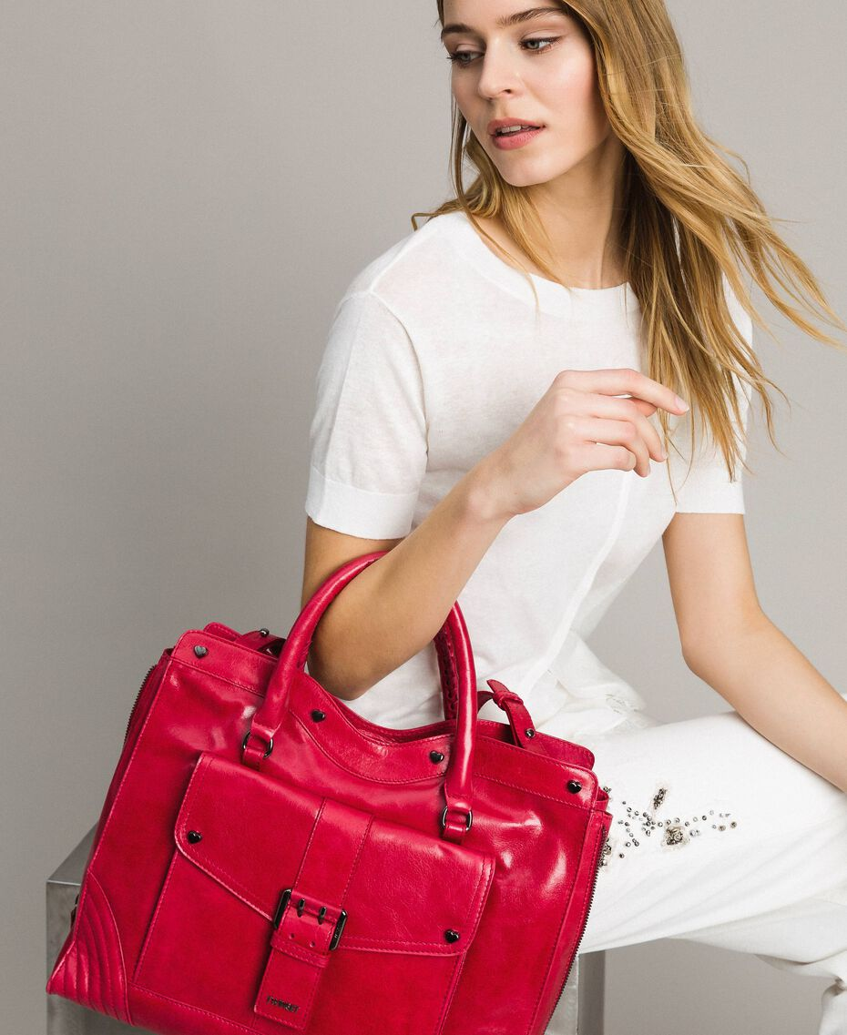 "Rebel leather shopping bag ""Ruby"" Red Woman 191TA7235-0S"