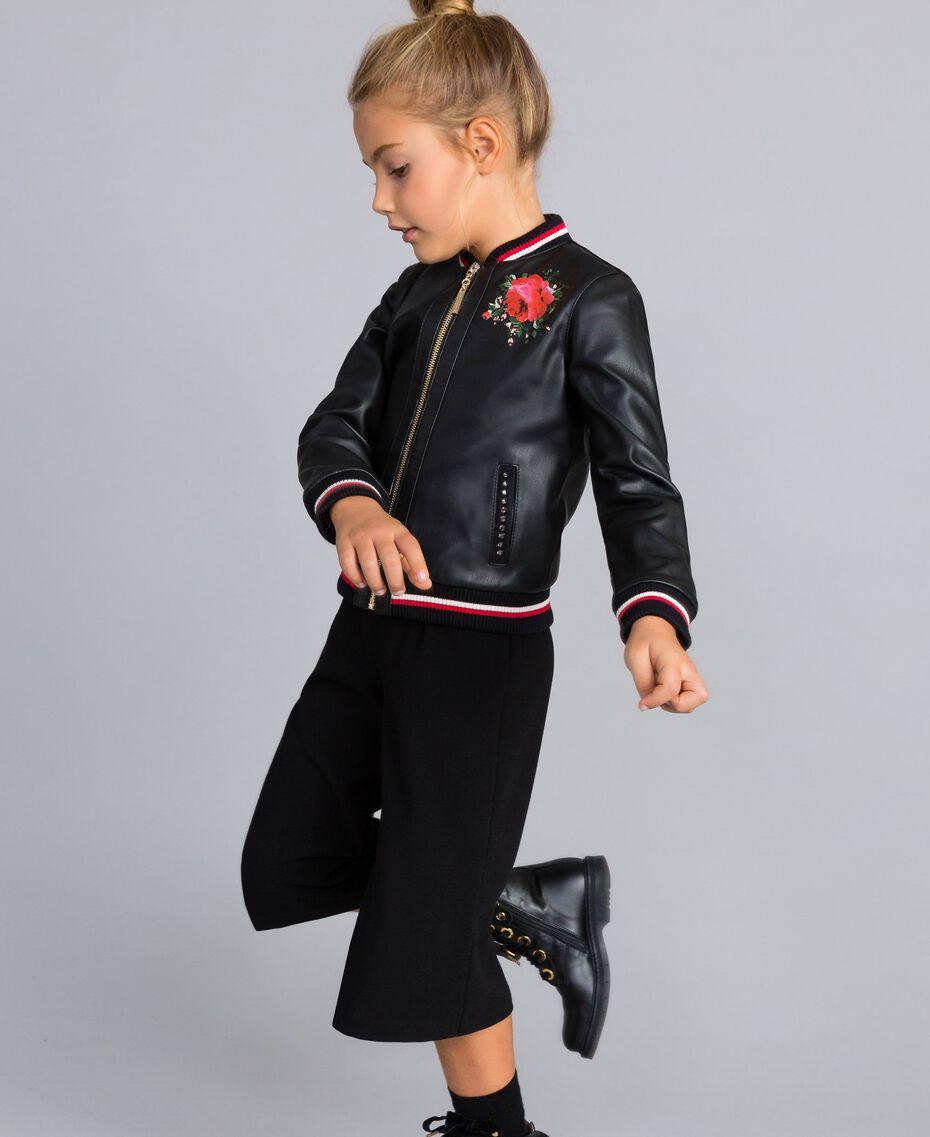 Veste en similicuir avec broderies Bicolore Noir / Rouge Coquelicot Enfant GA82B1-02