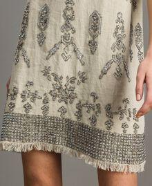 """Robe en lin ornée de perles et de sequins Beige """"Sable"""" Femme 191TT2063-04"""