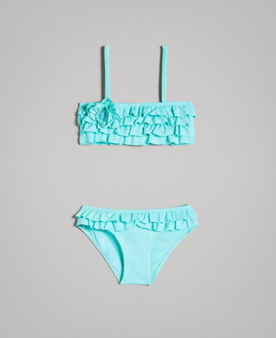 """Bikini avec ruchés et fleur en perles Bleu Clair """"Île du Paradis"""" Enfant 191GBM900-01"""