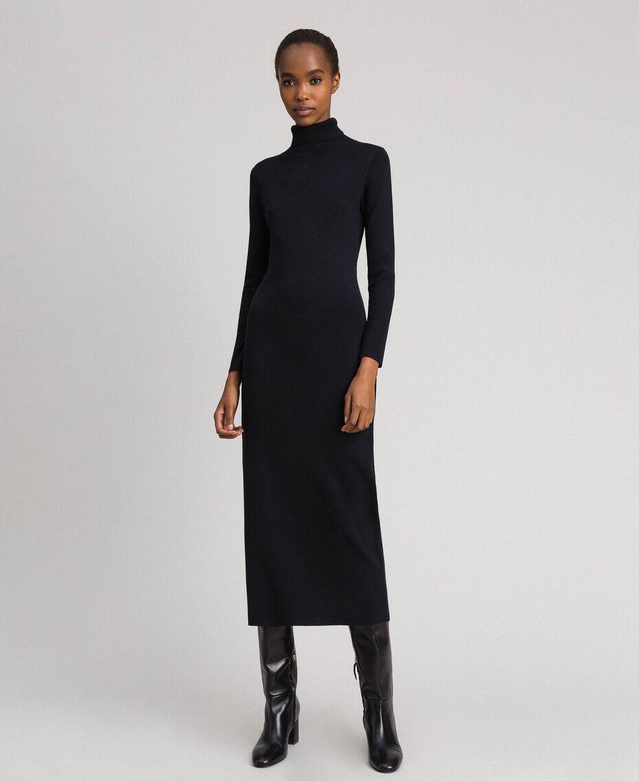 Robe longue en maille Noir Femme 192MT3014-01
