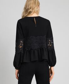 Blouse with macramé lace and flounce Black Woman 192TT2213-03
