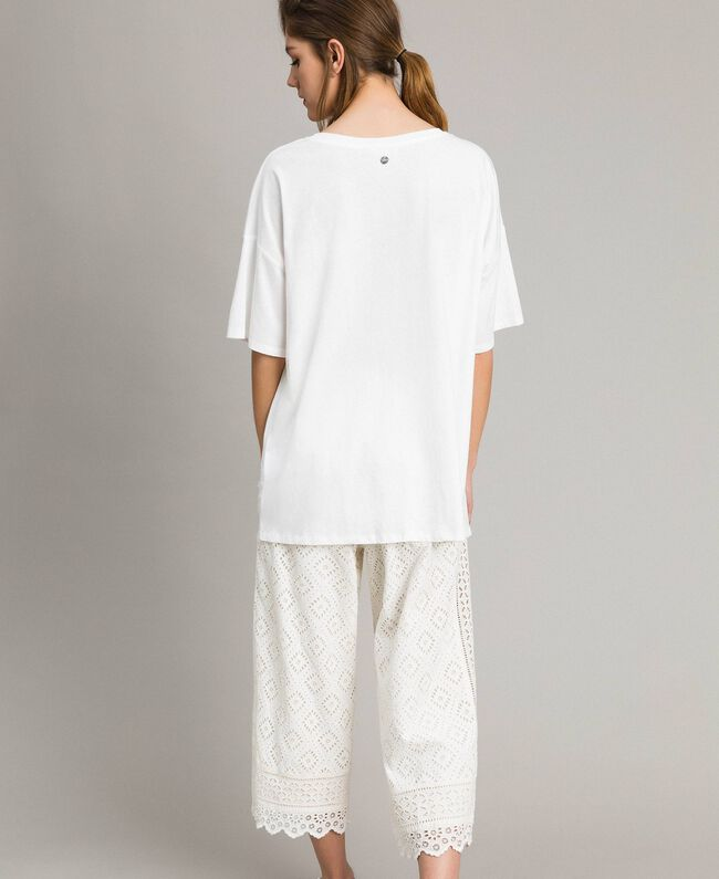 Maxi t-shirt avec dentelle Bicolore Blanc Cassé / Écru Femme 191ST2083-03