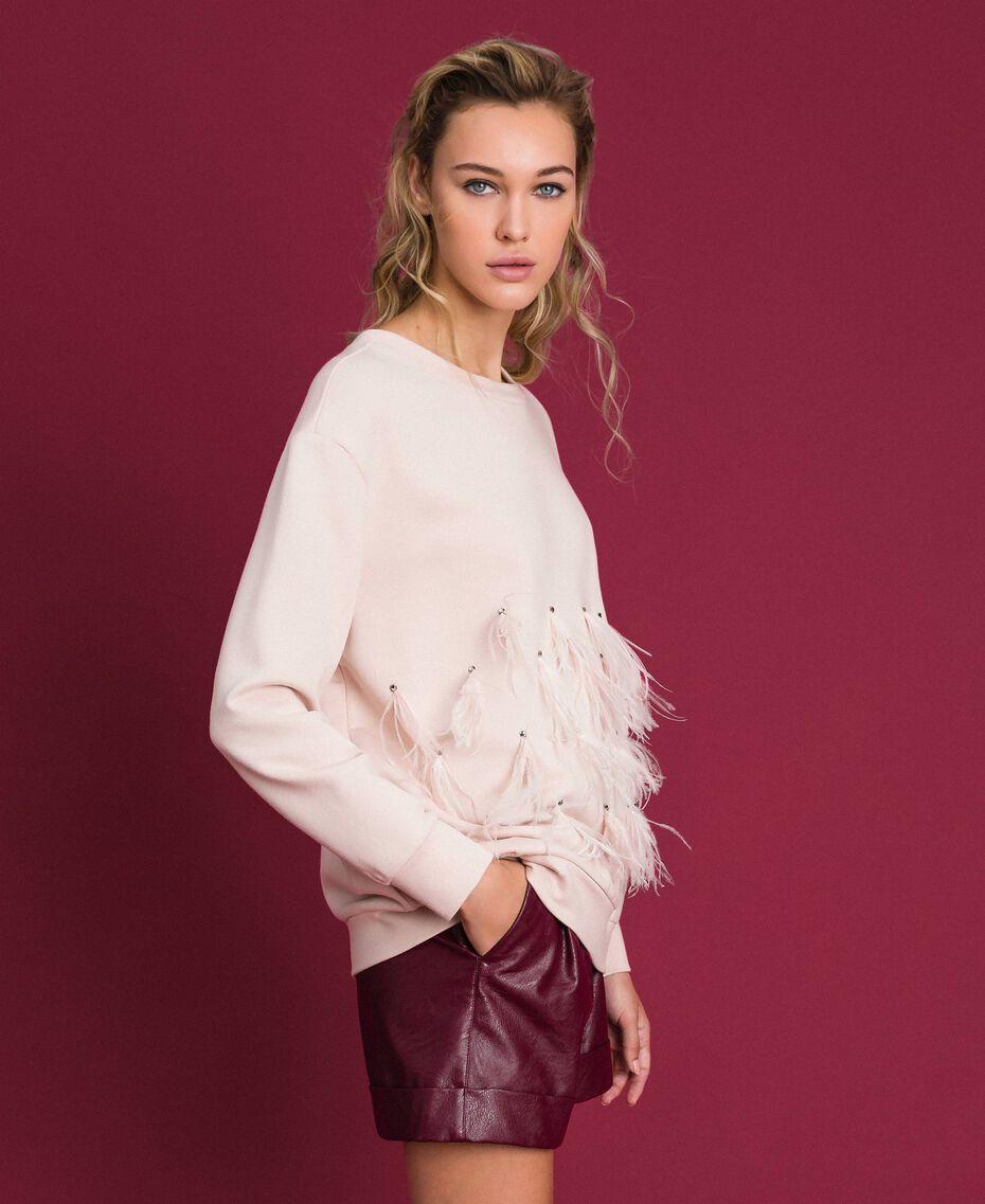 Sweatshirt mit Glassteinen und Federn Blütenknospenrosa Frau 192TT2131-02