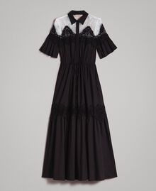 Poplin long shirt dress with lace Black Woman 191TT2122-0S