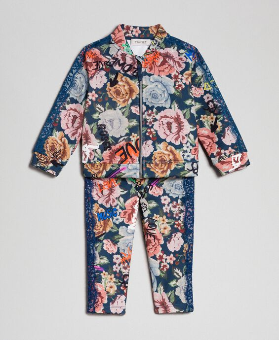 Scuba jumpsuit with floral and graffiti print