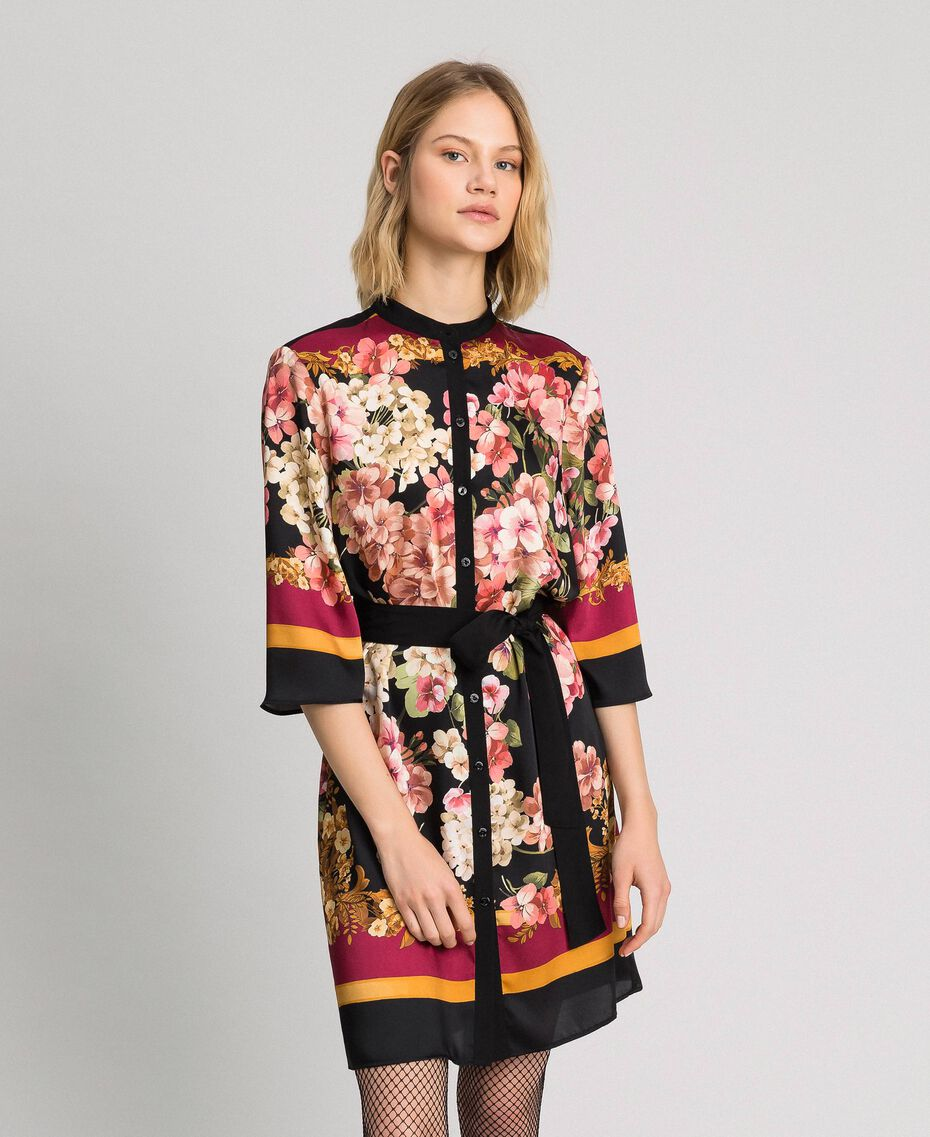 Robe chemisier avec imprimé foulard floral Imprimé Foulard Placé Femme 192TP2601-02