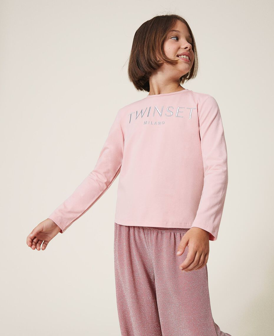 "T-shirt with embroidered logo ""Lurex"" Silver / Matt Pink Embroidery Child 202GJ2316-02"
