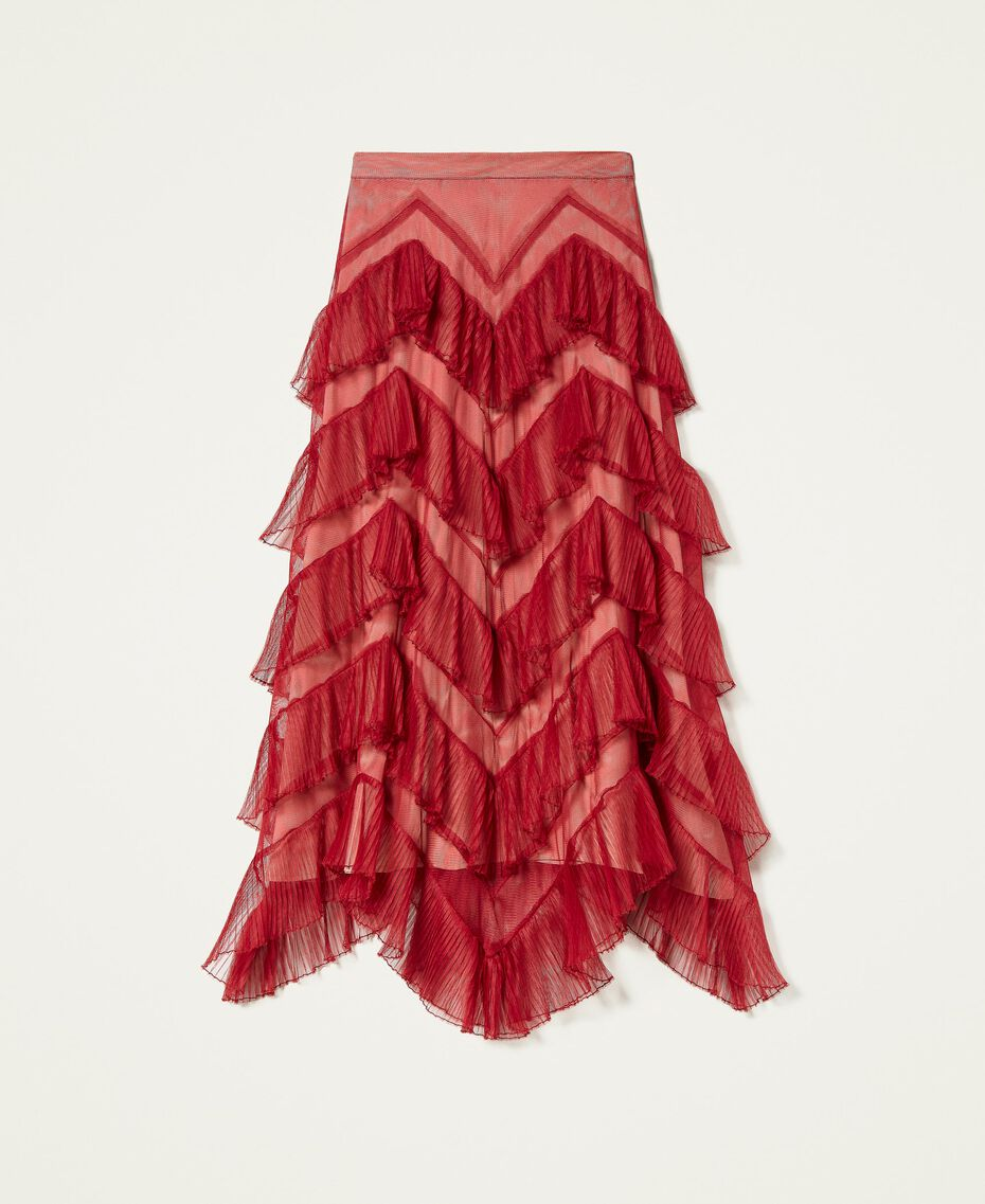 Long tulle skirt with pleated flounces Dark Raspberry Woman 212TP2204-0S