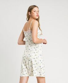 Floral print slip with lace Ivory Mini Flowers Print Woman 191LL2AAA-03