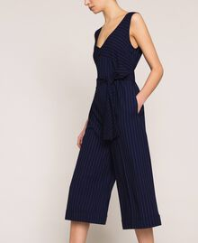 Cropped pin stripe jumpsuit with belt Midnight Blue Pin Stripe Jacquard Woman 201ST2084-02