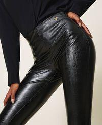 Animal print faux leather leggings