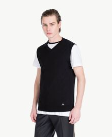 Cotton and cashmere waistcoat Black Man US831D-02