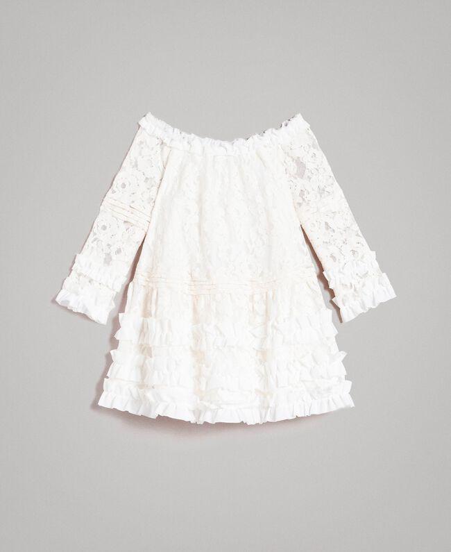 Robe en dentelle avec ruchés Bicolore Chantilly / Blanc Optique Enfant 191GJ2QH0-01