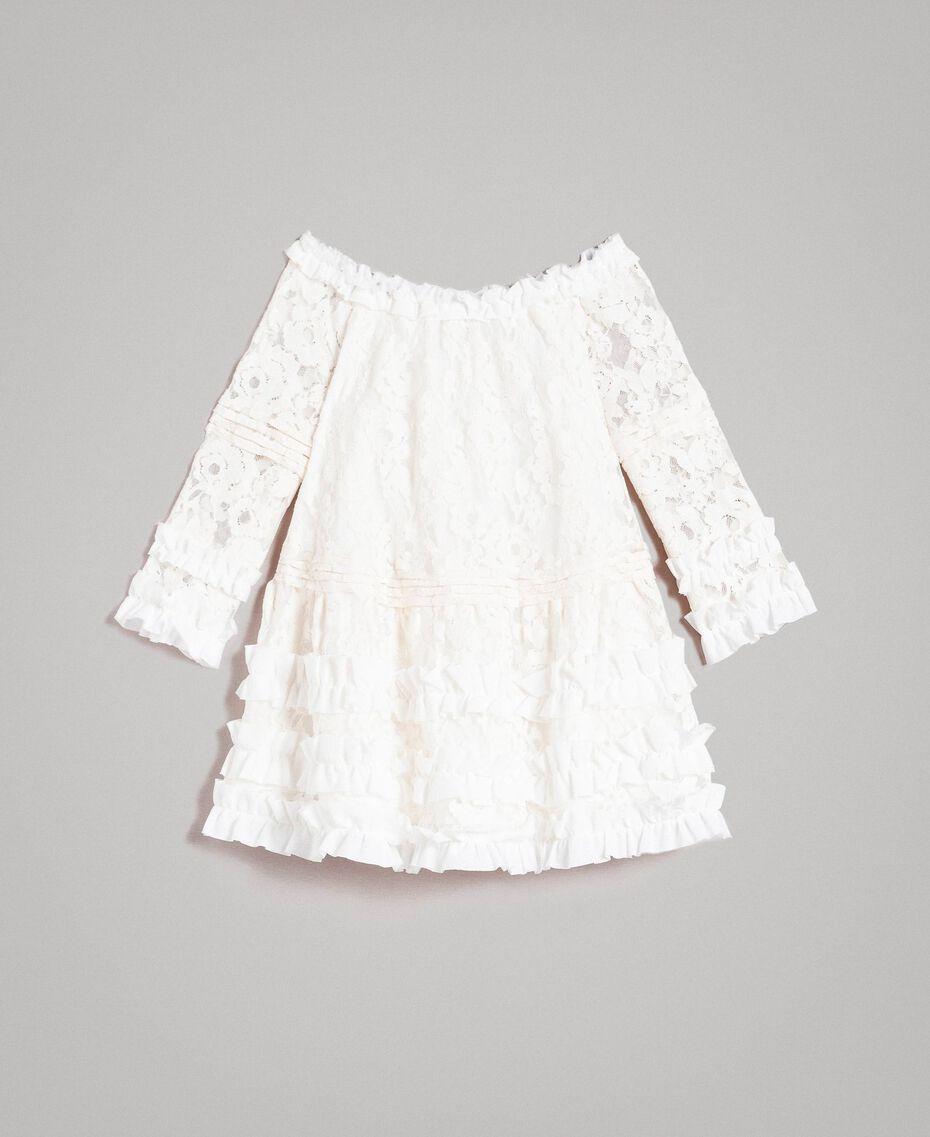 Spitzenkleid mit Rüsche Zweifarbig Chantilly / Optisch Weiß Kind 191GJ2QH0-01