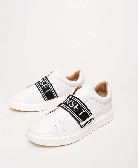 Leather trainers with logo