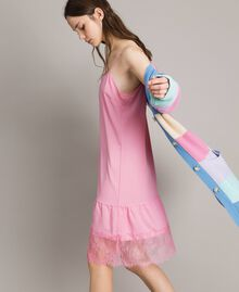 Crêpe de Chine slip dress with lace Hydrangea Pink Woman 191MP2453-02