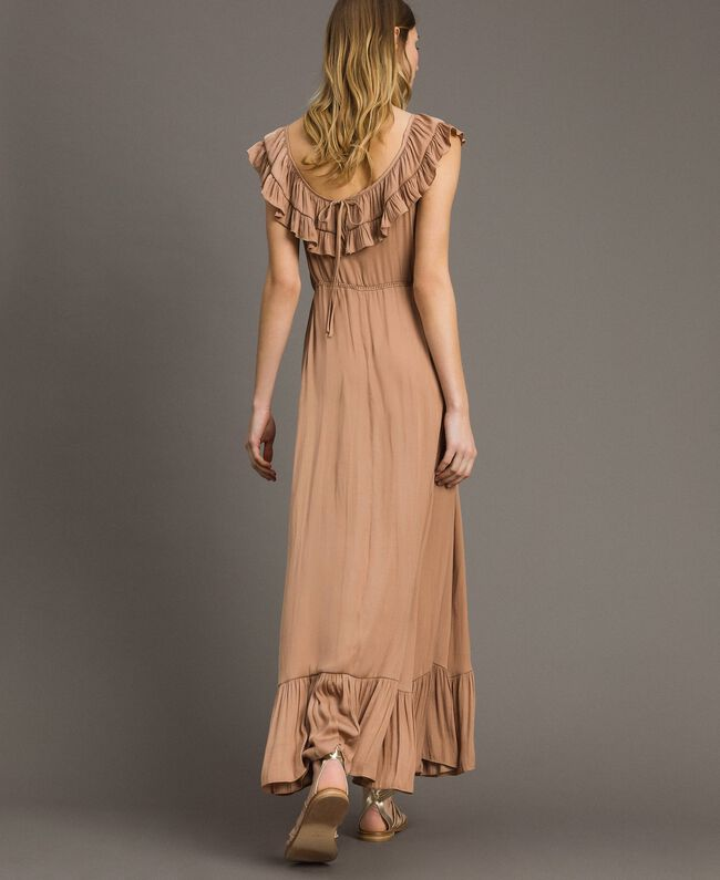 "Long dress in flowing glossy fabric ""Petra Sandstone"" Brown Woman 191LM2GAA-04"