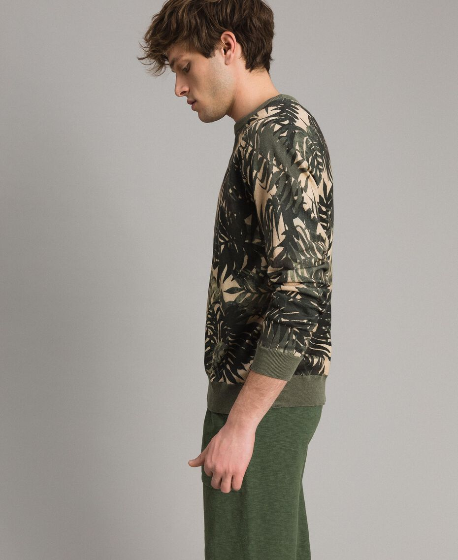 "Crêpe cotton printed jumper All Over ""Palms"" Camouflage Print Man 191UT3060-02"