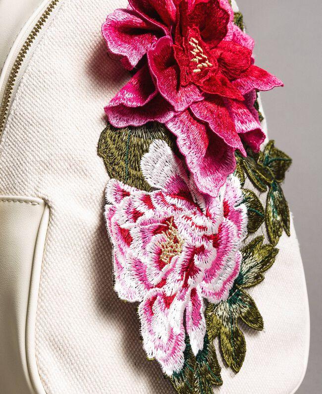 Canvas-Rucksack mit Blumen Berry Rot Frau 191MO8072-04