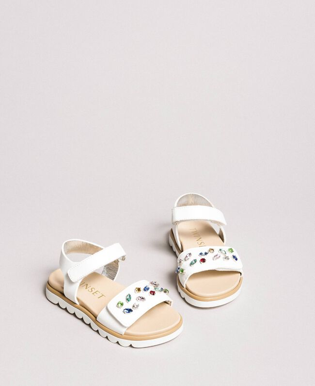 Sandals with multicolour stones White Child 191GCB150-01