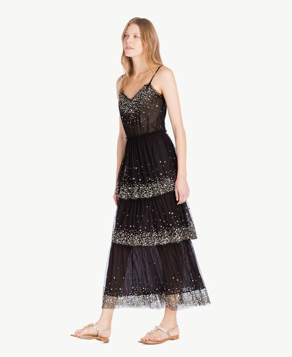 Kleid aus Tüll Schwarz Frau TS82EG-02