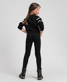Jersey leggings with lace Black Child GCN2F4-03