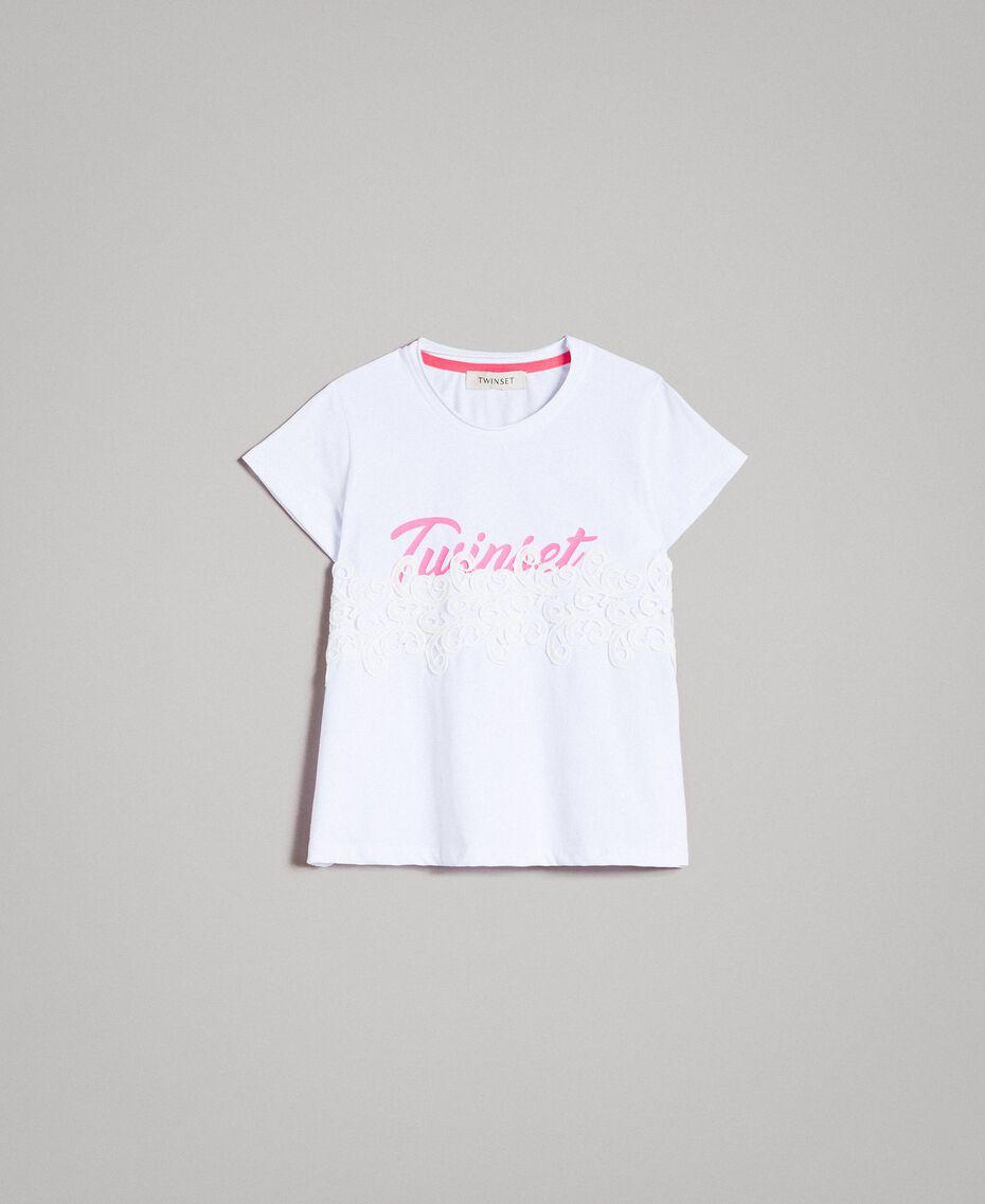 T-shirt en jersey orné de dentelle avec imprimé Blanc Enfant 191GJ2040-01