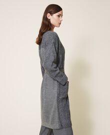 Manteau en maille avec boutonnière et ceinture Gris moyen chiné Femme 202ST3102-02