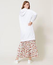 Maxisweatshirt mit Logo und Marienkäfer-Stickerei Weiß Frau 202TP2806-03