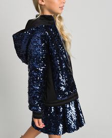 Bomber in velluto con paillettes Blue Night Bambina 192GJ2090-05