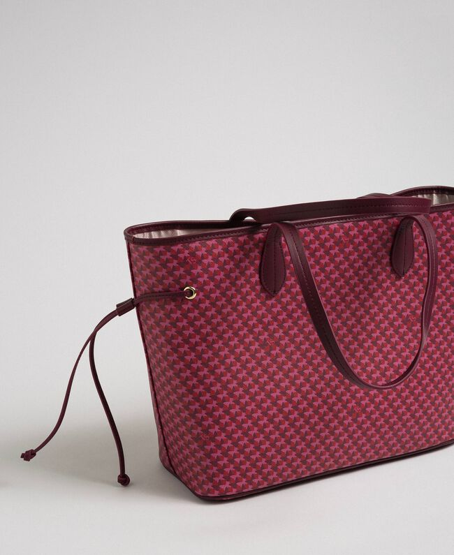 Printed shopper with clutch Beet Red Butterfly Floral Print Woman 192TA7017-04