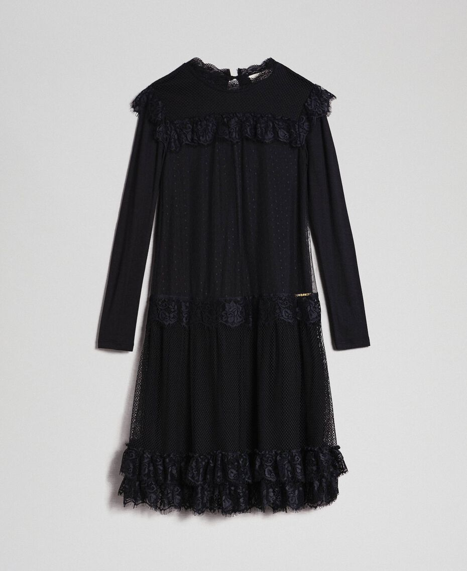Mesh, tulle and lace long dress Black Child 192GJ2322-0S