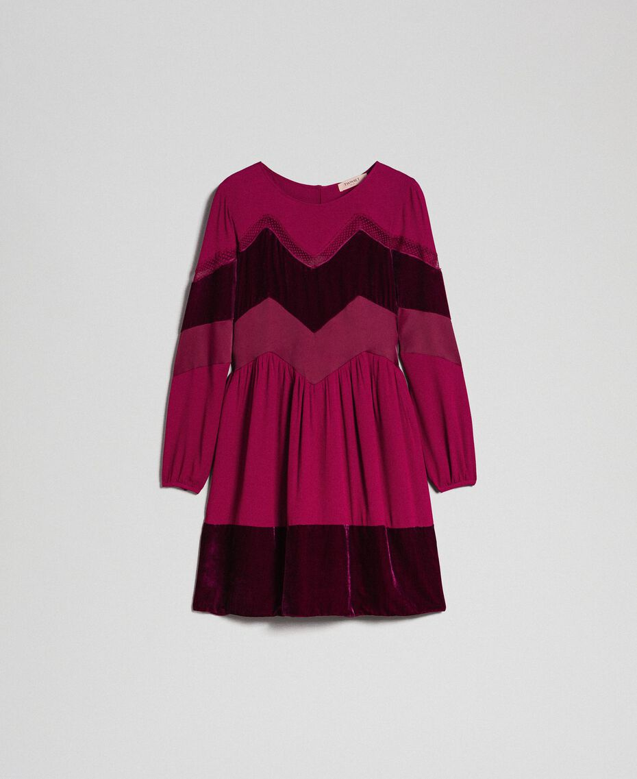 Kleid mit Samtdetails Samtrot Frau 192TT2281-0S