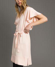 "Satin dress with belt ""Rose Sand"" Pink Woman 191TT2450-04"