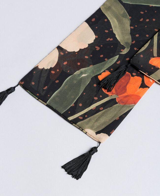 Printed scarf Maxi Black Tulip Print Woman OA8T14-01