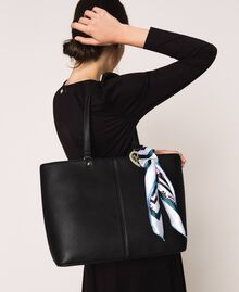 Faux leather shopper with scarf Black Woman 201MA7080-0T
