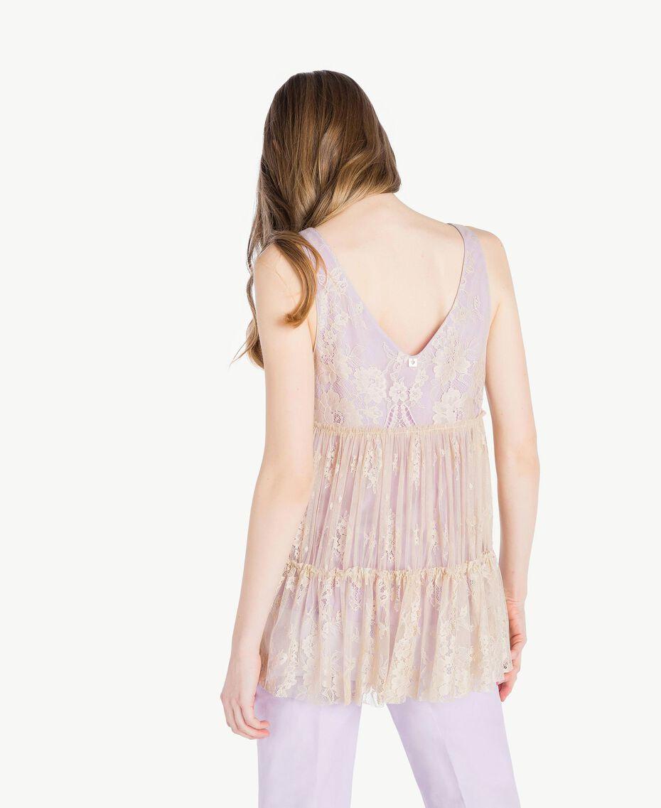 Lace top Two-tone Ecru / Violet Woman PS821E-03