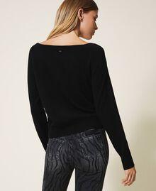 Jersey de lana mixta con tul Negro Mujer 202MP3090-03