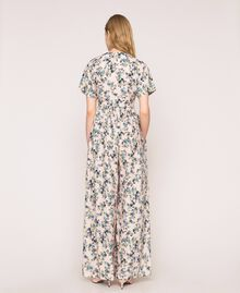 "Floral crêpe de Chine jumpsuit ""Quartz"" Pink Flowered Print Woman 201MP2372-04"
