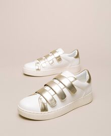 Sneakers in similpelle Avorio Donna 201LLPZAA-03
