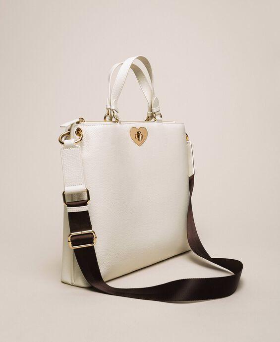 Большая кожаная сумка-шоппер с сердцем