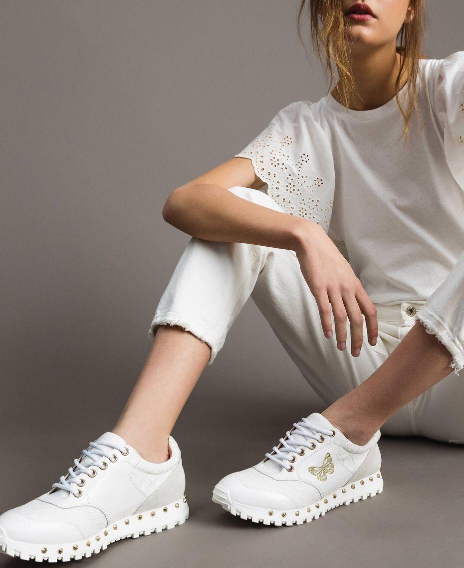 Sneakers aus Spitze und Wildleder Weiß Frau 191TCP026-0S