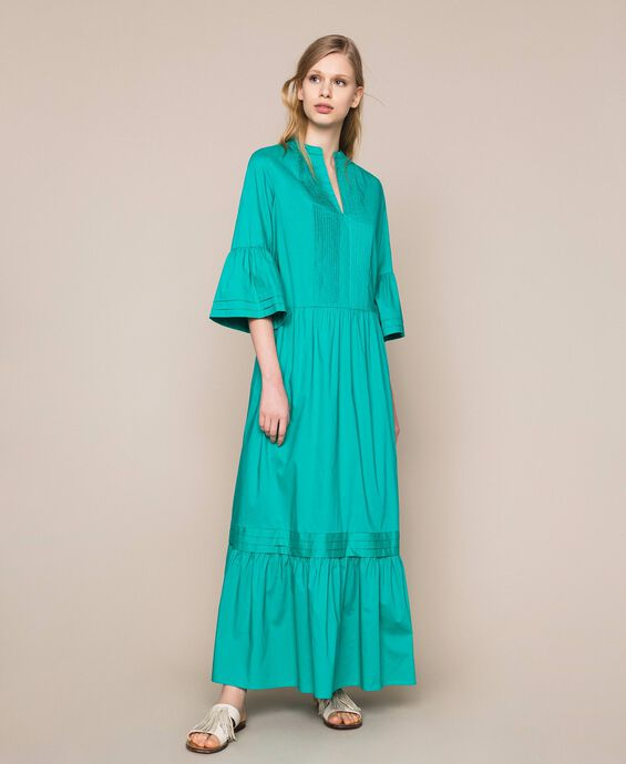 Poplin long dress with pleats