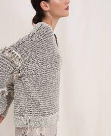 Пуловер из фасонной крученой пряжи с люрексом Разноцветный Слоновая кость / Черный женщина 201TP3162-03